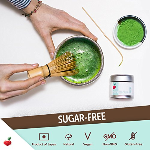 Yuve Ceremonial Matcha Green Tea Powder - Authentic Japanese - Premium Quality - Vegan, Non-GMO, Gluten & Sugar Free - Antioxidants Energy Boost - Perfect for Tea Ceremony and Holistic Detox (30g Tin)
