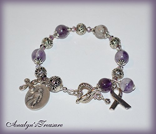 - St. Peregrine Rosary Bracelet in Natural Amethyst, Rosary Bracelet, Amethyst Bracelet, February Birthstone, Choose Saint, Charm & Wrist Size