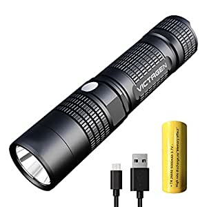 Victagen Tactical LED Flashlight 1230 Lumen Portable Ultra Bright IP67-Waterproof Micro-usb charge Torch & Power Bank Rechargeable 26650 5000mAh Battery Adjustable 5 Modes for Hiking Camping