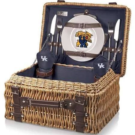 NCAA Kentucky Wildcats Champion Picnic Basket with Deluxe Service for Two, Navy (Wildcats Glass)
