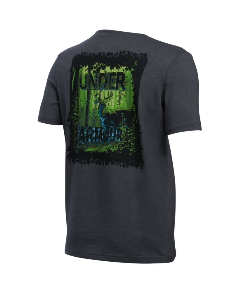 Under Armour Boys' Whitetail Graphic Short Sleeve T-Shirt, Carbon Heather/Black, Youth X-Small by Under Armour