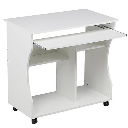 Yaheetech Mesa de Ordenador Mesa de Computadora Moderno con Ruedas ...