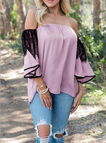 Violet Femme Haut Dentelle T Sleeve Sexy Flare Shirts t Dnude Blouses Irregulier Casual Chemisiers Fashion Clair paule pissure Tops T0dqqwz