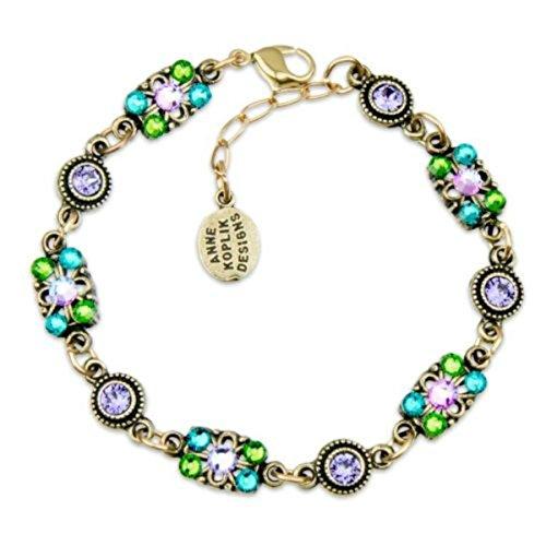 Anne Koplik Antique Brass Purple & Green Swarovski Crystal Rectangle Bracelet