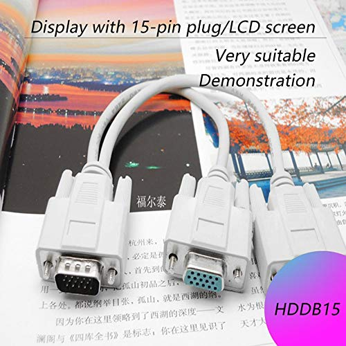 Amandai 1 PC to 2 Way VGA SVGA Monitor Dual Video Graphic LCD TFT Y Splitter Cable Lead