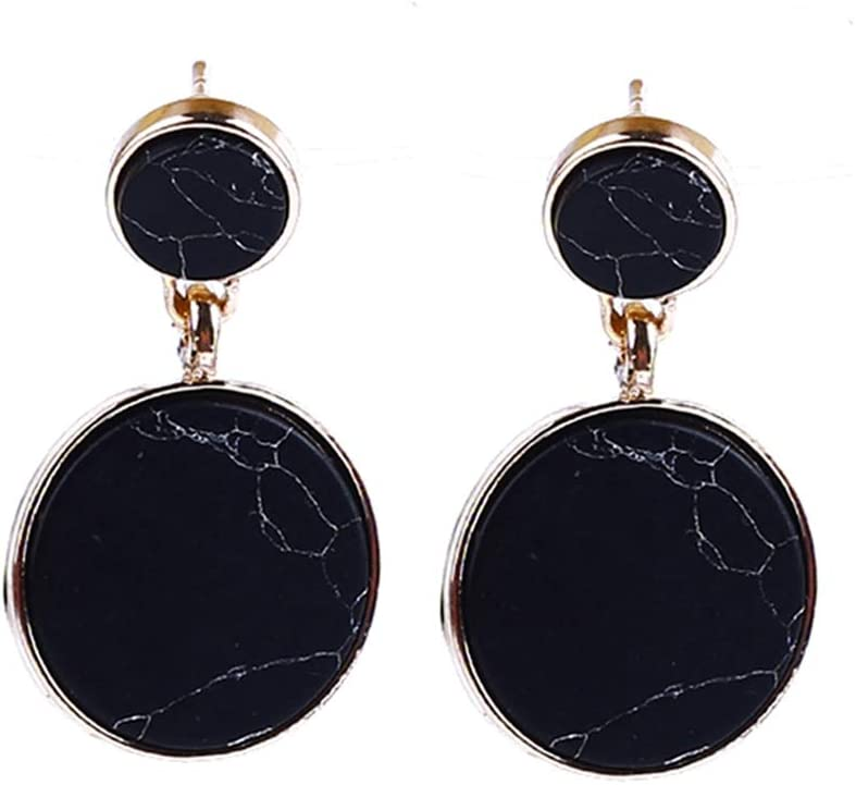HYhy - Pendientes de mármol con diseño de piedra redonda doble colgante geométrico, vintage, color negro