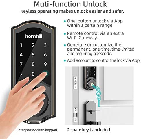 [2020 Newest Version] Keyless Entry Door Lock Deadbolt, Smart Lock Front Door, Electronic Door Locks with Keypads, Digital Auto Lock Bluetooth Smart Door Locks for Homes Bedroom 51uyOX25Z4L