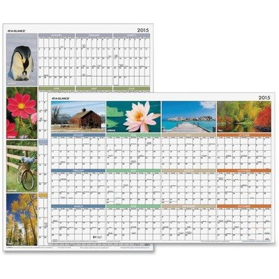 "AT-A-GLANCE PA133 ""Seasons in Bloom"" Vertical/Horizontal Erasable Wall Planner, 24 x 36, 2017"