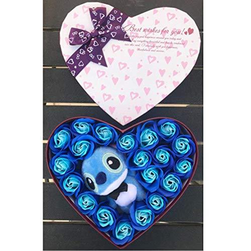ZQQXV Artificial Plush Lilo Stitch Toys with Bouquets Stich Fake Flowers Valentine Day Rustic Rose Soap Flower Love Explosion Box
