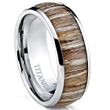 Titanium Ring Wedding Band, Engagement Ring with Real Wood Inlay, 8mm Comfort Fit Size 9.5