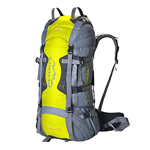 Price comparison product image Creeper Outdoor Sports Camping Hiking Waterproof Backpack Daypacks Professional CR Mountaineering Bag 70L Travel Trekking Rucksack with Rain Cover (Yellow)