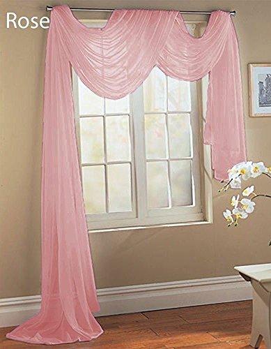 GorgeousHomeLinenDifferent Colors & Sizes 1 Sheer Panel or 1 Scarf Valance Drapes Voile Window Treatments Rod Pocket Curtain or Elegant Swag Valance (37″W x 216″L VALANCE, Light Pink)