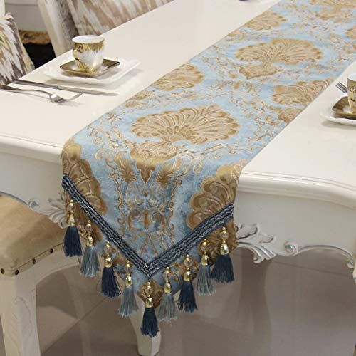 (SN Chenille Luxurious Table Runner Soft Thick Durable Embroidery Coffee Table Wine Cooler Table Decoration (Color : Brass, Size : 32180cm))