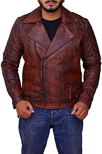 King Leathers Men's Leather Jacket Motorcycle Bomber Biker Real Lambskin Leather Distress Brown Vintage Jacket for Men MJ54