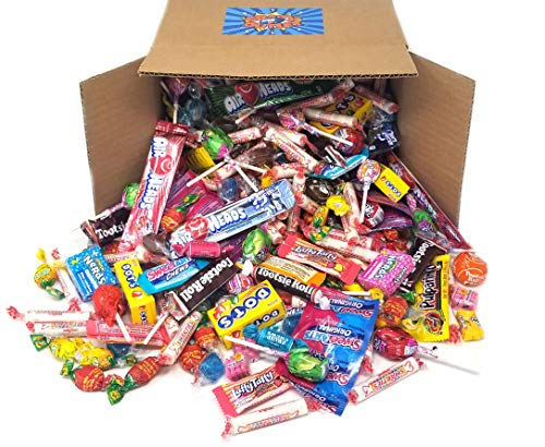 CrazyOutlet Pinata Stuff Candy Assortment - Tootsie Rolls, Jolly Rancher Lollipops, Air Heads Fruit Bars, De La Rosa Gum Candy, Smarties Rolls, Dots, Laffy Taffy, Sweetarts Candy Mix - 5 Pound Box]()