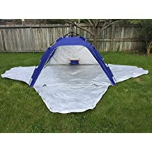 KoolQuest Instant Beach Shelter Sunshade Tent with Single Push/Pull Setup & Packing, 3 Side Zipper Privacy Doors. Silver Coated UPF 50+ with Ropes & Pegs and a handy Carry Bag (Navy Blue)