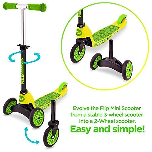Street Surfing Fizz Flip Mini Convertible Kick Scooter, Green/Yellow, Small