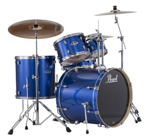Pearl EXX725S/C 5-Piece Export New Fusion Drum Set with Hardware - Electric Blue Sparkle(cymbals not included)