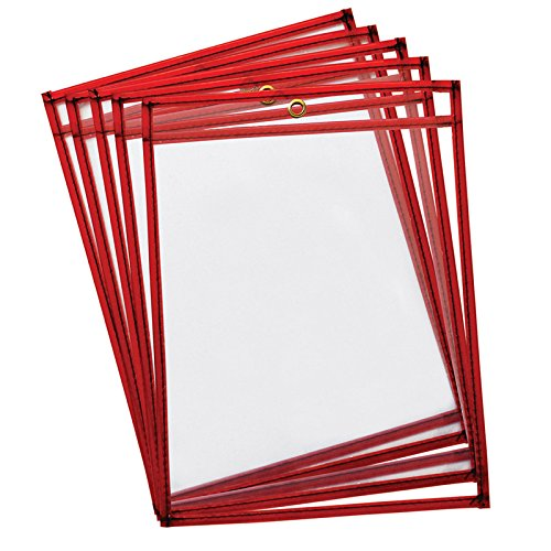 Pacon Dry Erase Pockets, Fluorescent Red, 9'' x 12'', 10 Per Pack, 2 Packs