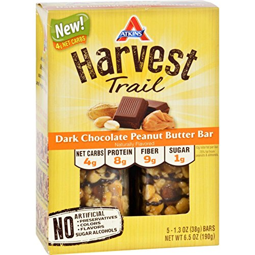 Atkins Harvest Trail Bar – Dark Chocolate Peanut Butter – 1.3 oz – 5 Count For Sale