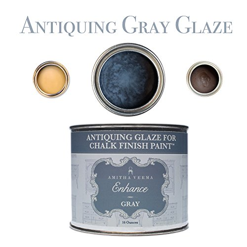 Distressed Paint Finish - Amitha Verma Antiquing Glaze and Wax for Chalk Finish Paint | DIY Distressed Vintage Look for Furniture, Cabinets and More, 16 ounce, Gray
