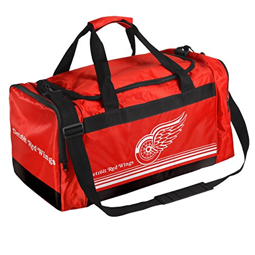 NHL Detroit Red Wings Striped Core Duffle Bag, Medium, (Mlb Medium Gift Bag)