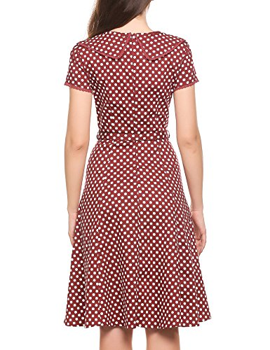 Tea Red Women's with ACEVOG Retro Wine Cocktail Swing Party Dress Vintage Dot Belt B6f07