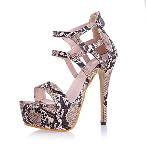 - JSUN7 Women's Stiletto Block High Heel Sandals Bronze Sexy Snake One Band Open Toe Platform Pumps with Zipper Fashion Formal Dress Party Prom Bride Shoes for Women