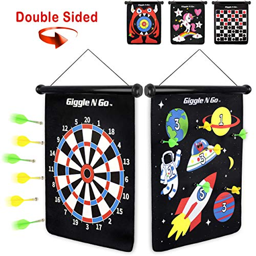 Magnetic 2 Darts - GIGGLE N GO Magnetic Dart Board Game - Our Reversible Rollup Kids Dart Board Set Includes 6 Safe Darts, 2 Dart Games and Easily Hangs Anywhere - Ultimate in Indoor Games (Space Theme)