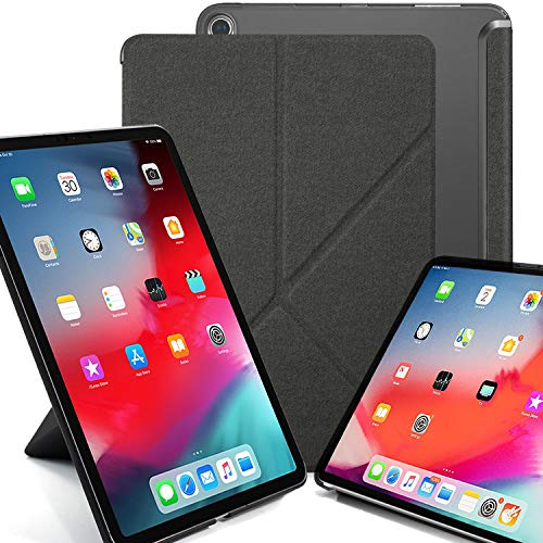 KHOMO Horizontal and Vertical Display Stand Capable Cover for iPad Pro 11 Inch Case (Released 2018) - Dual Origami Series - See Through Back - Twill Grey