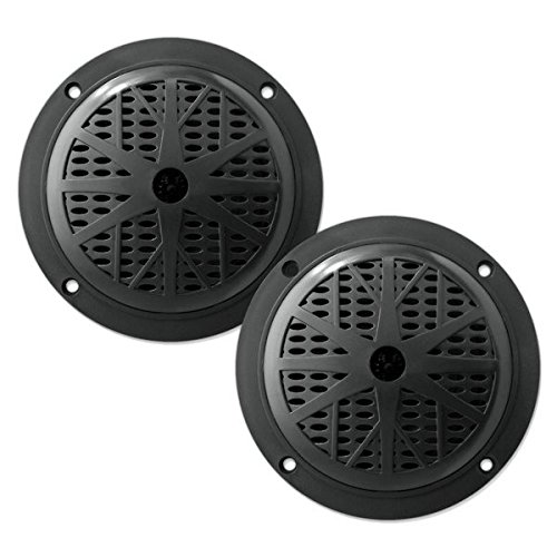 (4 Inch Dual Marine Speakers - Waterproof and Weather Resistant Outdoor Audio Stereo Sound System with Polypropylene Cone, Cloth Surround and Low Profile Design - 1 Pair - PLMR41W (Black))