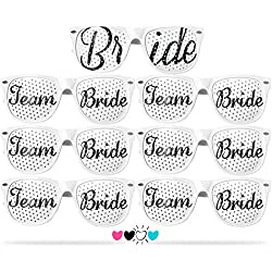 Team Bride Party Glasses - Novelty Sunglasses for Weddings, Bachelorette Parties and Bridal Showers (7pc Set, White)