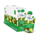 Plum Organics Stage 2, Organic Baby Food, Pear, Spinach and Pea, 4 ounce pouch (Pack of 12)