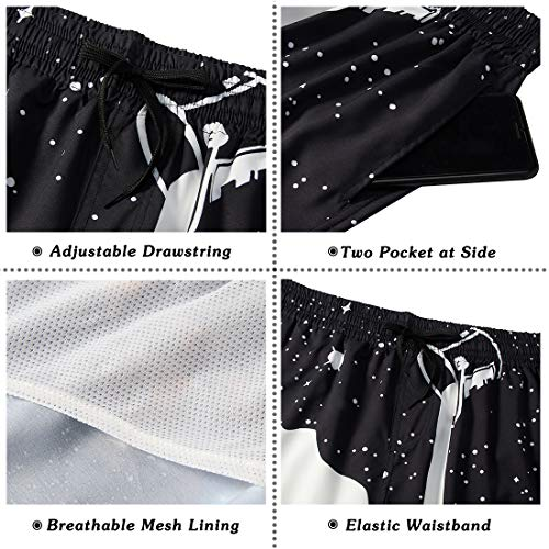 RAISEVERN Hombres 3D Copa Blanco Negro Impreso Holiday Beach Pantalones Cortos Troncos de natación de Secado rápido S-XXL