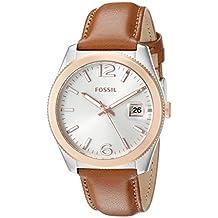 Fossil Women's ES3827 Perfect Boyfriend Three-Hand Date Leather Watch – Dark Brown