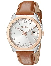 Fossil Women's ES3827 Perfect Boyfriend Three-Hand Date Leather Watch – Dark Brown