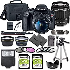 EOS Rebel T7 DSLR Camera Bundle with EF-S 18-55mm f/3.5-5.6 III Lens + 2pc Kingston 32GB Memory Cards + Accessory Kit