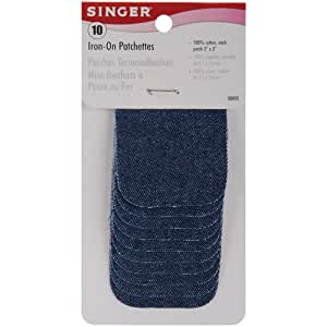 Singer 2-inch-by-3-inch Iron-On Patches, Denim, 10 per package