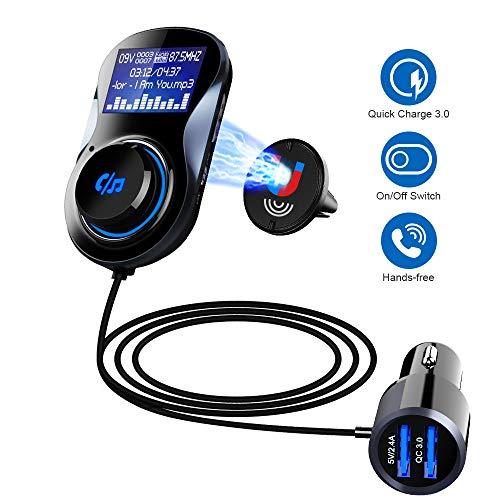 SONRU Upgraded Bluetooth FM Transmitter QC3.0, Bluetooth Car Radio Transmitter...