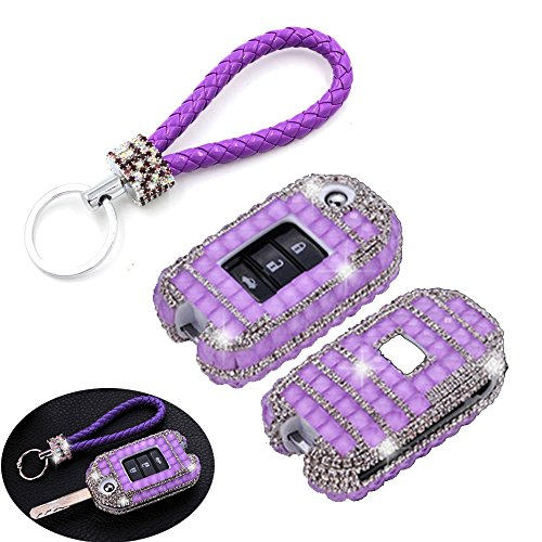 Thor-Ind Luxury Bling Crystal Diamond Car Keyless Entry Remote Control Folding Key Case Cover Fob Key Shell Bag Holder Key Chain for Honda Accord Civic CR-V XR-V Spirior & More 2/3/4 Button (Purple)