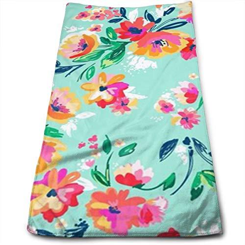 MaoYTU Bright Floral Blooms On Beach Glass Aqua Microfiber Kitchen Towels - Super Absorbent Dish Towels - Tea Towels(12 X 27.5 Inch)
