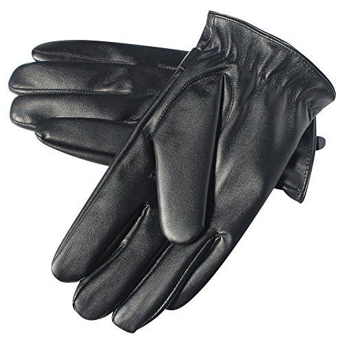 Magelier Men's Luxury Warm Winter Genuine Leather Fleece Lining Motorcycle Driver Novelty Dress Gloves,Black