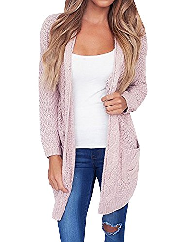 Sleeve Loose Knit Sweater Open Front Cardigan Outwear with Pocket (Juniors Open Weave)