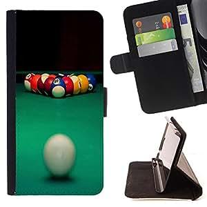 - Snooker Pool Ball American Pool - - Monedero PU titular de la tarjeta de cr?dito de cuero cubierta de la caja de la bolsa FOR Samsung Galaxy S5 Mini, SM-G800 Retro Candy
