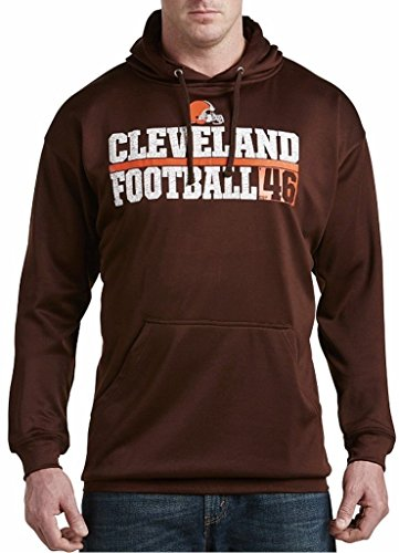 (Majestic Cleveland Browns NFL Mens 1 Handed Catch Synthetic Polyester Performance Fleece Hoodie Brown Big & Tall Sizes (6XL))