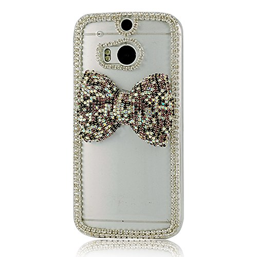 Mavis's Diary 3D Handmade Cute Crystal Sparkling Bow Rhinestone Diamond Clear Cover Hard Case for HTC One M8 2014 with Soft Clean Cloth (Black and Purple Crystal Bow)