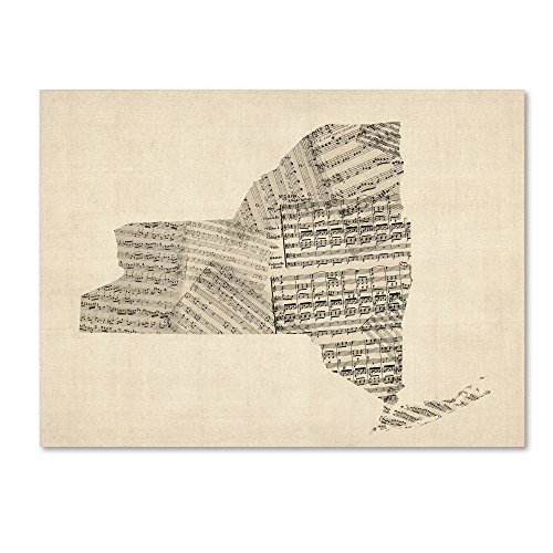 picture of Trademark Fine Art Old Sheet Music Map of New York State by Michael Tompsett, 24x32-Inch