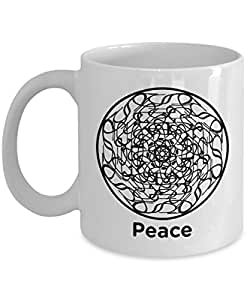 Peace Mandala Mug - Circle of Peace - 11oz Coffee Mug - Fun - Inspirational - Novelty Mug - Makes a Great Gift for Anyone