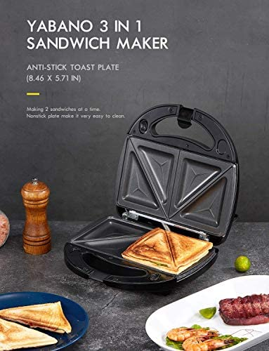 Yabano Sandwich Toaster, 3-in-1 Waffle Maker, Panini Maker, Toastie Maker with Detachable Non-Stick Plates, Cool Touch Handle, Dishwasher Safe, 800W