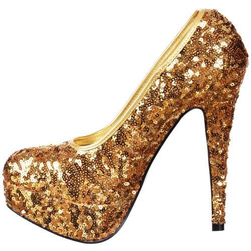 Oro Frizzante Tallone Donne Paillettes Della Piattaforma Onlineshoe Delle Gold Scarpe Stiletto Signore Dell'alto Dello Sequin qpOpFt